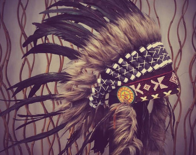 N63- Reduced Price !!! Black natural  colour Feather Headdress / Warbonnet.