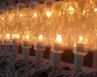 Clear Lights Vtg Box of 50, a Miniature Light Set of Crystal Flower Lights. VINTAGE. Golden Sleigh.