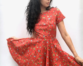 Red Floral Print Circle Dress UK Size 6-8 with short sleeve handsewn full skirt handmade by The Emperor's Old Clothes