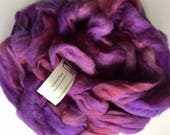 Hand dyed purple pink alpaca roving for spinning , handdyed alpaca roving,  5.5 ounces