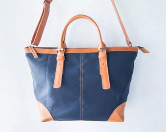 Leather and canvas shoulder Bag with should should strap, CarryAll, Laptop, MacBook, Shopping Bag - Handmade Leather canvas bag - Navy Blue