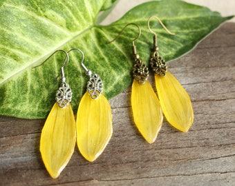 Sunflower Petal Earrings / Resin and Real Flower Petal Earrings / Nature Jewelry