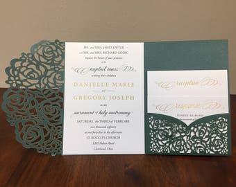 Gorgeous Laser Cut Wedding Invitations Pocket Wedding invitation Die Cut Laser Cut Jacket Traditional Emerald Blush Navy Shimmer Laser Cut