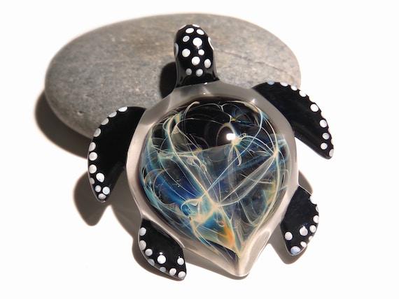 Blown Glass Sea Turtle Pendant - Necklace - Black Nova Turtle - Glass Jewelry - Glass Art - Heady Turtle - Handmade