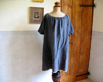 Antique French linen short dress, long top dyed inky blue. Good, strong linen, tiny monogram EV  - 55 euro