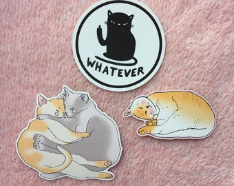 Cats sticker pack - soft - cozy cats vinyl sticker - whatever - Lovestruck Prints