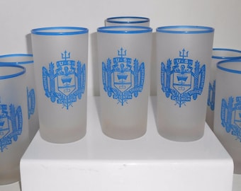 US Naval Academy Frosted Drinking Glasses Set Of 8 Vintage 1950's