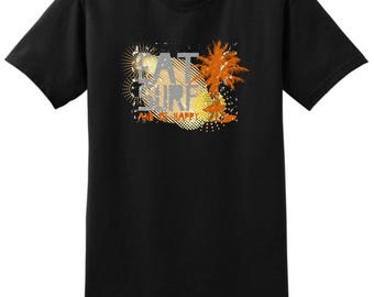 Cool Gift for Surfer Eat Surf and Be Happy T-Shirt 2000 - WRV-85