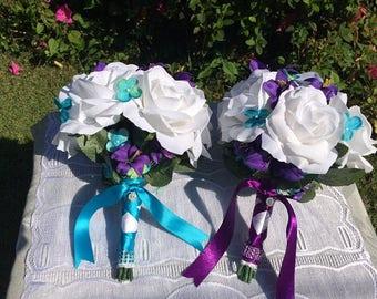 Wedding Bouquets|Pair of Wedding Bouquets|Budget Wedding Bouquets|Wedding Bouquet Set|Custom Wedding Bouquet|Purple Teal Bouquets|Bridesmaid