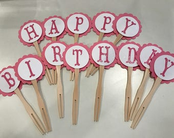 "SALE  ""Happy Birthday"" cupcake toppers ready to ship today!"