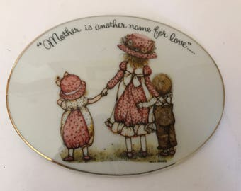 """Adorable  Vintage Hallmark Holly Hobbie Porcelain Wall Plaque """"Mother is another name for love"""""""