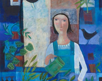 Girl in The Potting Shed, Giclee print on archival paper, signed and numbered