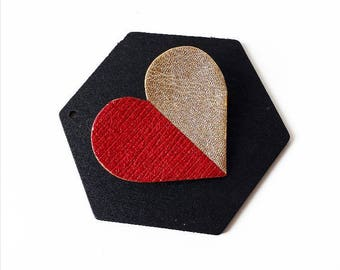 "Brooch ""heart"" bi - colored leather"