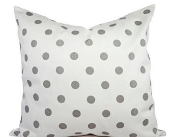 15% OFF SALE 2 Decorative Throw Pillow Covers - Grey and White Ikat Polka Dot Print - Cushion Cover Accent Pillow