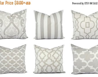 15% OFF SALE Grey and White Pillow Covers - Grey Pillow Sham - Grey Throw Pillow - Decorative Pillow - Quatrefoil Accent Pillow - Striped Pi