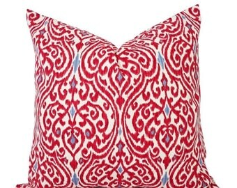 15% OFF SALE Two Decorative Throw Pillow Covers - Red and Beige Ikat - 12x16 12x18 14x14 16x16 18x18 20x20 22x22 24x24 26x26 Red Pillows