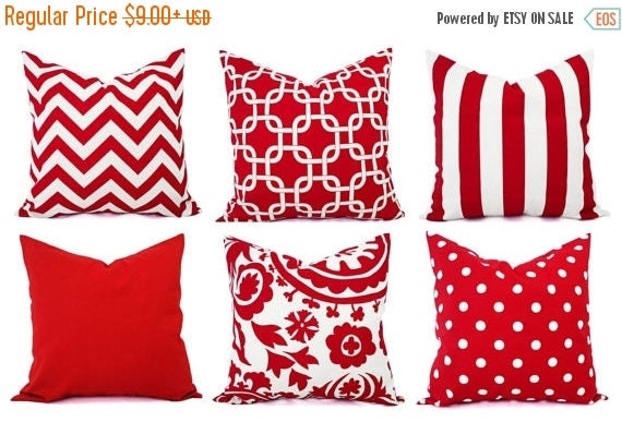 OFF SALE Red Pillow Covers Decorative Throw Pillow Cover