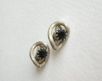 THE BIG SALE Vintage Clip On Earrings Dark Rhinestone Clip On Earrings Silver Tone Small Earrings Unsigned Antique Earrings