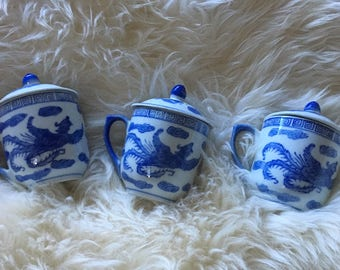 Vintage Blue and White Ginger Jar Vases/Cups with lids