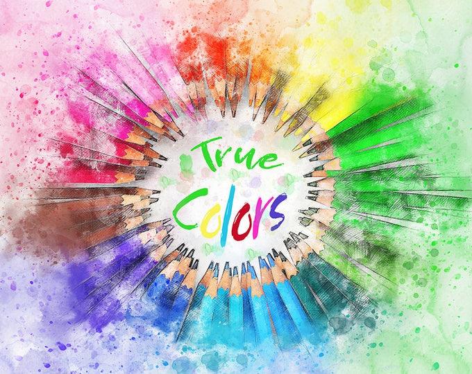 pencil crayons art colorful watercolor art print