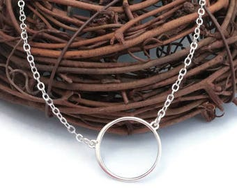 Single Sterling Silver Circle Necklace ~ Karma Silver Necklace ~ Eternity Necklace ~ Simple ~ Delicate