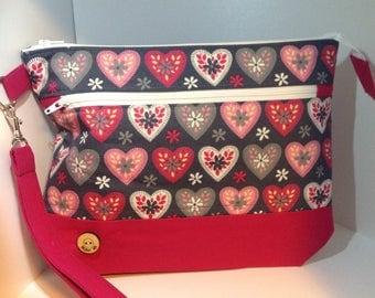 Folk heart Zippered project bag