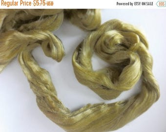 SALE 1 oz Tussah Silk Roving , Luxury fiber for spinner and felters. color Sage