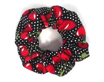 pinup cherries scrunchie - hair tie elastic 80's 90's - rockabilly hair accessory - pinup hair tie - psychobilly elastic - pinup fruit
