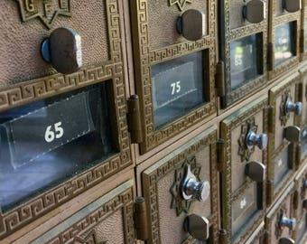 Vintage Post Office 54 Box Set Section Unit Cabinet Bank