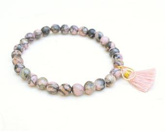 Rhodonite bracelet, Tassel bracelet, Rhodonite jewelry, Boho bracelet, Pink bracelet, Gemstone bracelet, Dainty bracelet, Layering bracelet