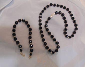 14 KT  / 10 KT  Black Onyx  Necklace  / Bracelet