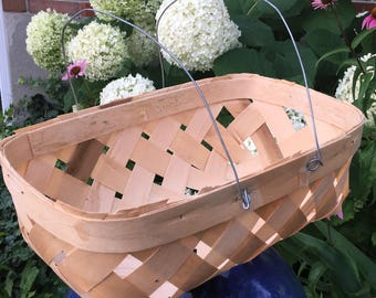 Vintage Natural Split Wood  Flower basket Market Basket Country Charm Farmers Market Basket Farmhouse Ready