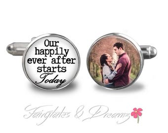 Engagement or Groom Cufflinks - Mens Cuff Links- Cufflinks - Wedding - Valentine - Gifts for Him - UK