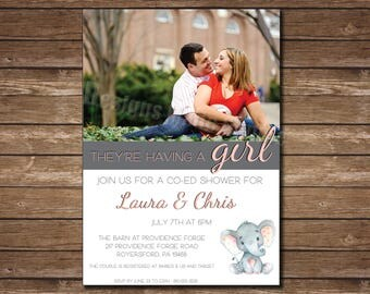 Elephant Themed Modern Baby Shower or Co-Ed Baby Shower Invitation with Photo - Printable