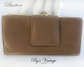 Vintage Brown Genuine Leather Wallet Buxton, Vintage Change Purse / Clutch, Made in Canada