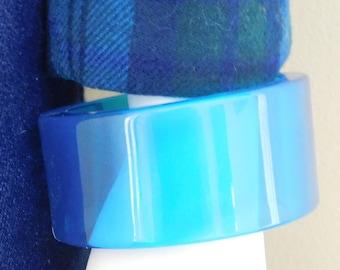 Vintage, Clear Blue Plastic, Large Bangle,  Chunky Bracelet, Size Smal