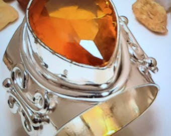 Ring Sterling Silver Citrine Size 8