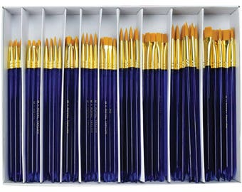 Royal Langnickel PAINT BRUSHES Taklon Boxed Set 120 Pc Rounds and Flats Gold -Free US Shipping!!!
