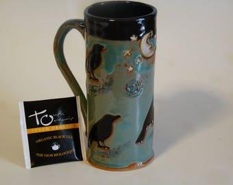 CROW MUG, FOUR Blackbirds, Raven Mug, , Blue/Green Mug with Crows, Gothic Mug, Skinny Mug