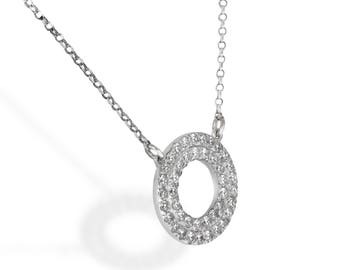 Open circle pendant necklace, 14K White Gold, two circles of white diamonds, Including Chain, gold  diamond necklace, eternity necklace