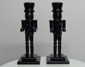 Wooden Christmas Home Decorations, Wood Candlesticks, Christmas Wooden Art Decorations, Black Candlesticks, Nutcrackers Decor Candlesticks