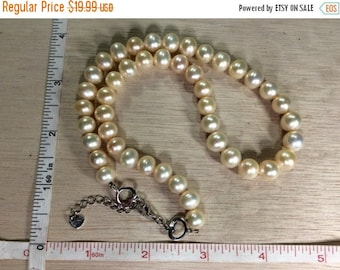 """10% OFF 3 day sale Vintage 16""""-18"""" MS Peach Pearls 925 Sterling Silver Findings Necklace Used"""