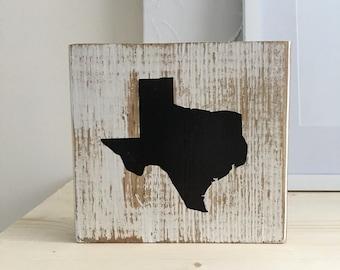 Texas Wood Block, Distressed, White Wash