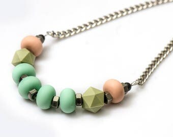 Mint green necklace, chunky beads, multi color necklace, nulika