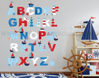 Alphabet Wall Decal - Alphabet Decal - Nautical Nursery Wall Decals - Playroom Wall Decal - Play Room Wall Decal - Wall Sticker - 01-0026