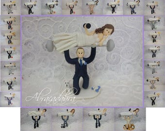 weight lifting groom with bride on barbells personalized wedding cake topper