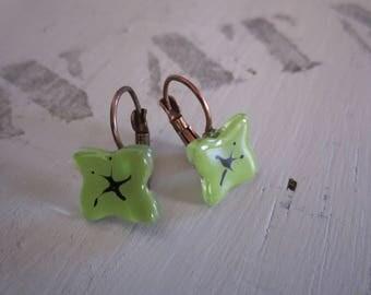 Glass fusing clear green glass, brass Leverback Earrings