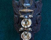 Tribal Fusion Necklace, Tuareg Necklace, Boho Bellydance Necklace, Crystal Necklace, African Trade Bead Necklace, Effigy Necklace, Gift