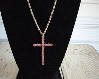 Great Vintage Large Cross Pink Rhinestone Gold Tone Necklace