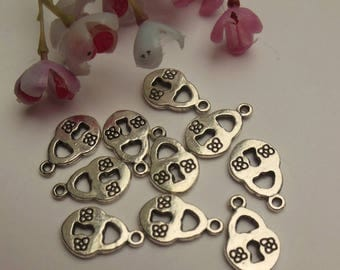 set of 6 Silver padlock charms